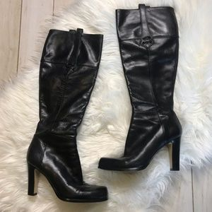 Nine West Black Tall Calf Height Heeled Boots